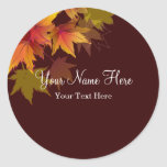 Autumn Leaves are Falling Round Stickers