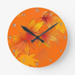 Autumn Leaves are Falling Round Wall Clock