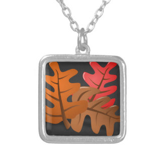 Autumn Leaves are Falling Square Pendant Necklace