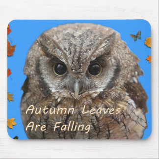 Autumn Leaves Are Falling With Sweet Hoot Owl. Mouse Pad