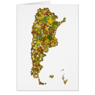 Autumn Leaves Argentina Map Card