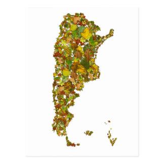 Autumn Leaves Argentina Map Postcard