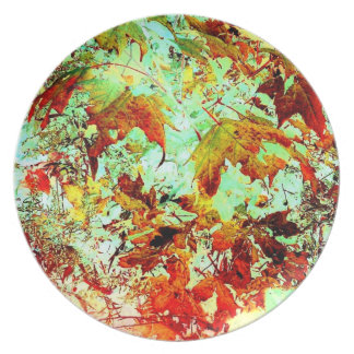 Autumn Leaves Art Photo Plastic Picnic Party Plate