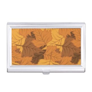 Autumn leaves background business card holder