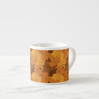 Autumn leaves background espresso cup