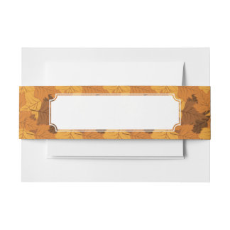 Autumn leaves background invitation belly band