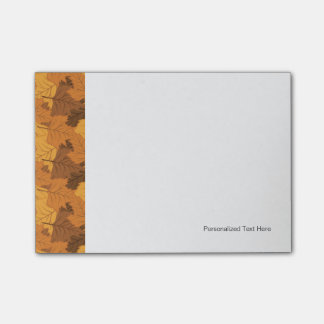 Autumn leaves background post-it notes