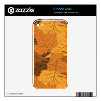 Autumn leaves background skin for iPhone 4S