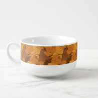 Autumn leaves background soup bowl with handle