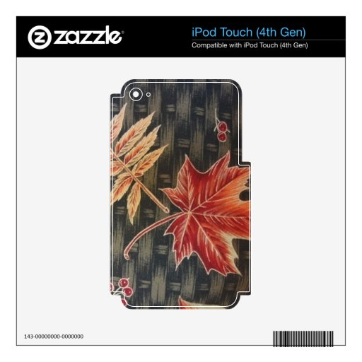 Autumn Leaves & Basketweave Skin For iPod Touch 4G
