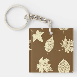 Autumn leaves - beige and chocolate keychain