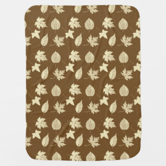 Autumn leaves - beige and chocolate receiving blanket