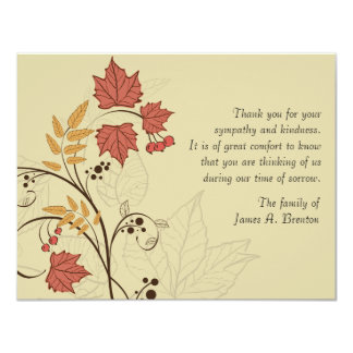 Autumn Leaves Bereavement Thank You Notecard 4.25x5.5 Paper Invitation Card