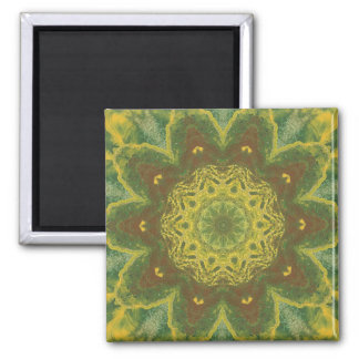 Autumn leaves birch abstract kaleidoscope magnet 2