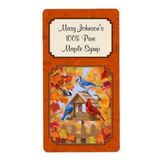 Autumn Leaves Bird Feeder Maple Syrup Label