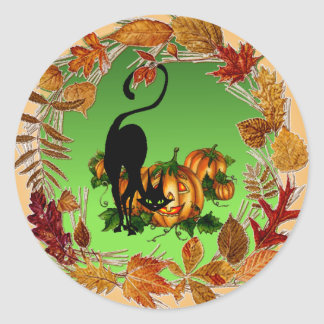 AUTUMN LEAVES BLACK CAT by SHARON SHARPE Classic Round Sticker