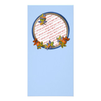 Autumn Leaves & Blue Circle Frame on Light Blue Personalized Photo Card