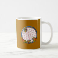 Autumn Leaves & Blue Frame on Autumn Brown Classic White Coffee Mug