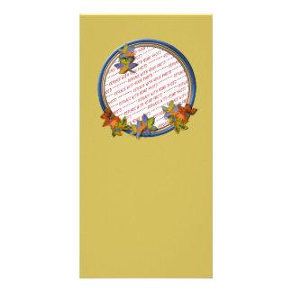 Autumn Leaves & Blue Frame on Autumn Gold Photo Card