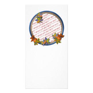 Autumn Leaves & Blue Frame Photo Card Template