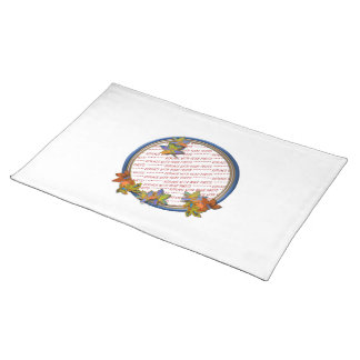 Autumn Leaves & Blue Frame Cloth Place Mat