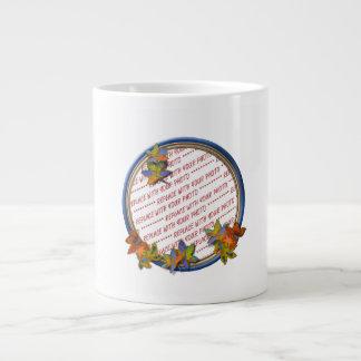 Autumn Leaves & Blue Frame 20 Oz Large Ceramic Coffee Mug
