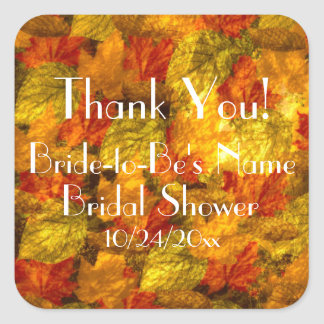Autumn Leaves Bridal Shower Thank You Stickers