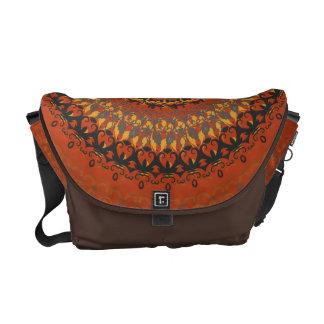 Autumn Leaves Brown Mandala Messenger Bag