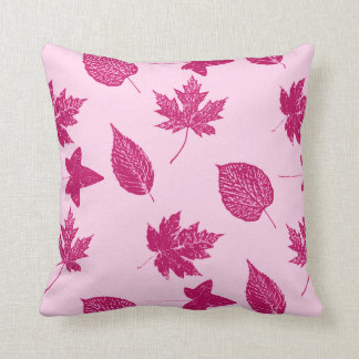 Autumn leaves - burgundy and shell pink pillow