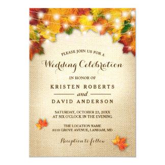 Autumn Leaves Burlap String Lights Fall Wedding Invitation