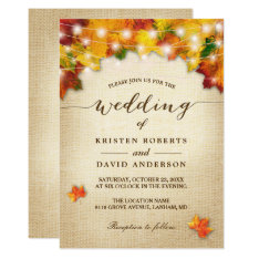 Autumn Leaves Burlap Twinkle Lights Fall Wedding Card at Zazzle