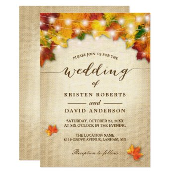 Autumn Leaves Burlap Twinkle Lights Fall Wedding Card by CardHunter at Zazzle