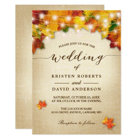 Autumn Leaves Burlap Twinkle Lights Fall Wedding Card