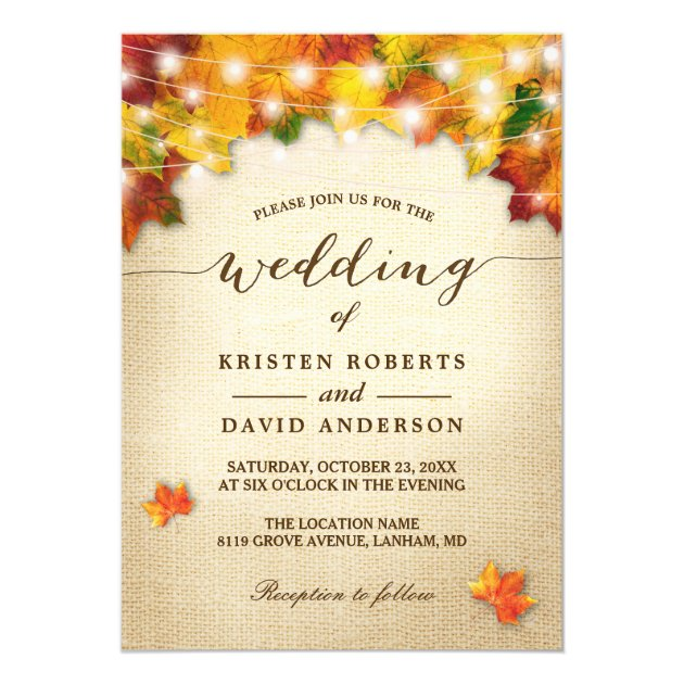Autumn Leaves Burlap Twinkle Lights Fall Wedding Card