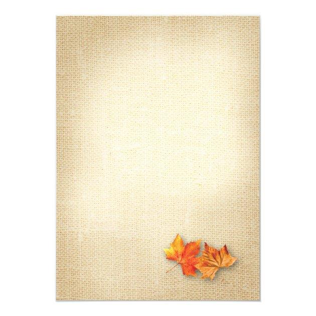 Autumn Leaves Burlap Twinkle Lights Fall Wedding Card (back side)