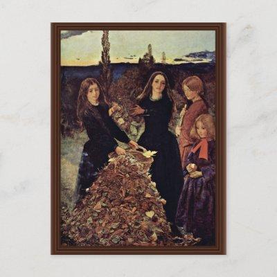 Autumn Leaves By Millais John Everett Post Cards