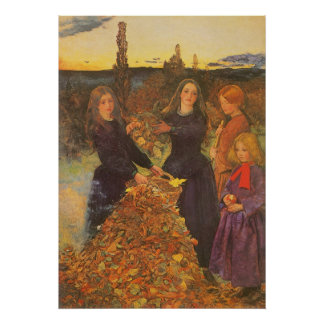 Autumn Leaves by Millais, Vintage Victorian Art Posters