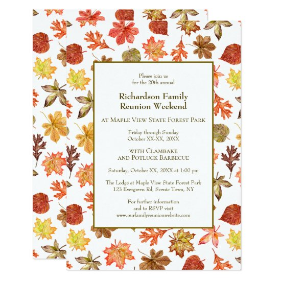 Autumn Leaves Camping Family Reunion Jamboree BBQ Invitation