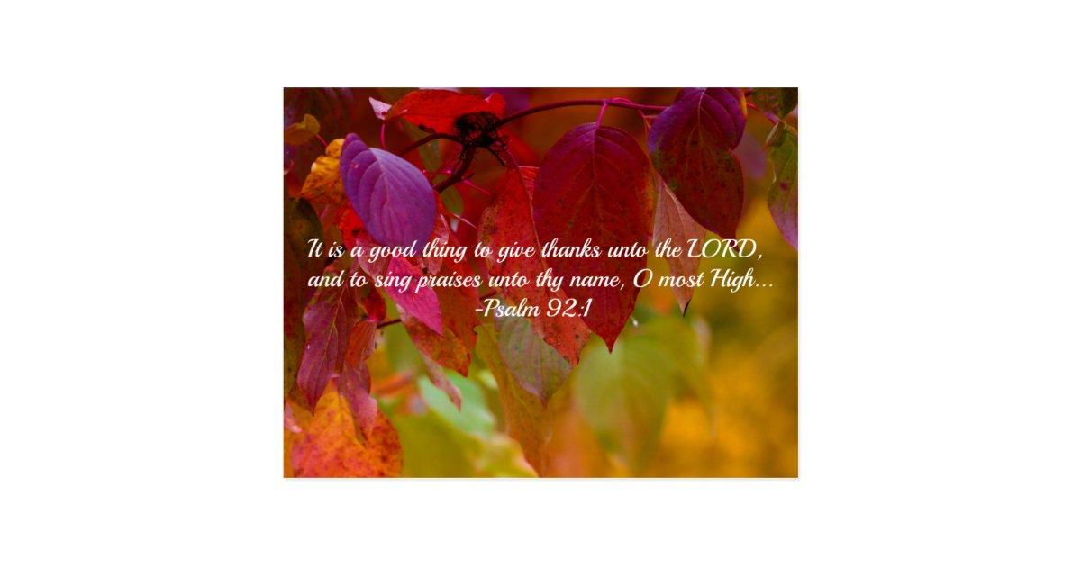 Autumn Leaves Christian Bible Verse Psalms Postcard