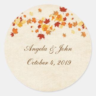 Autumn Leaves Classic Round Sticker