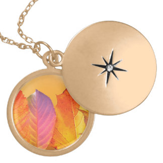 Autumn Leaves Colorful Modern Fine Art Photography Gold Plated Necklace