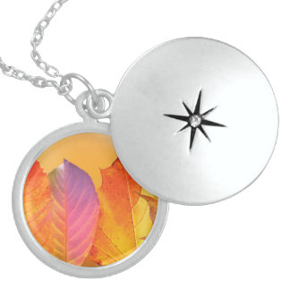 Autumn Leaves Colorful Modern Fine Art Photography Sterling Silver Necklace