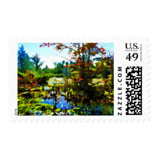 Autumn Leaves Colorful Scenery Landscape Stamp