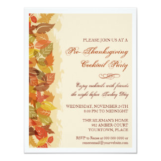 Autumn Leaves Edged 4.25x5.5 Paper Invitation Card