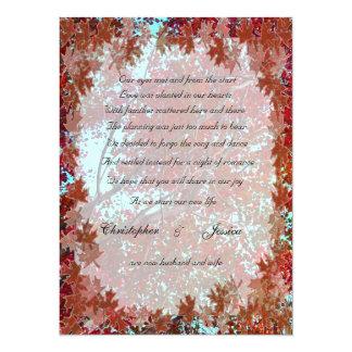 "Autumn Leaves elopement announcement 5.5"" X 7.5"" Invitation Card"