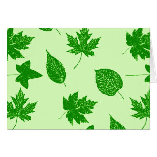 Autumn leaves - emerald and lime green stationery note card
