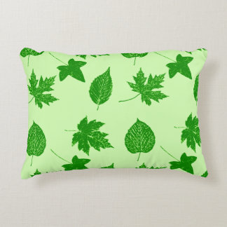 Autumn leaves - emerald and lime green accent pillow