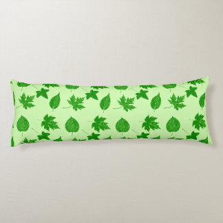 Autumn leaves - emerald and lime green body pillow