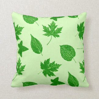 Autumn leaves - emerald and lime green throw pillows