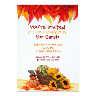 Autumn Leaves Fall Birthday Party Invitations